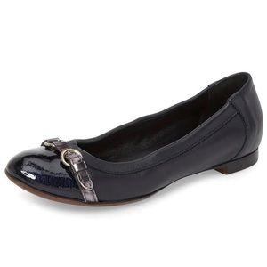 AGL Cap Toe Ballet Flat Black Leather Grey Buckle